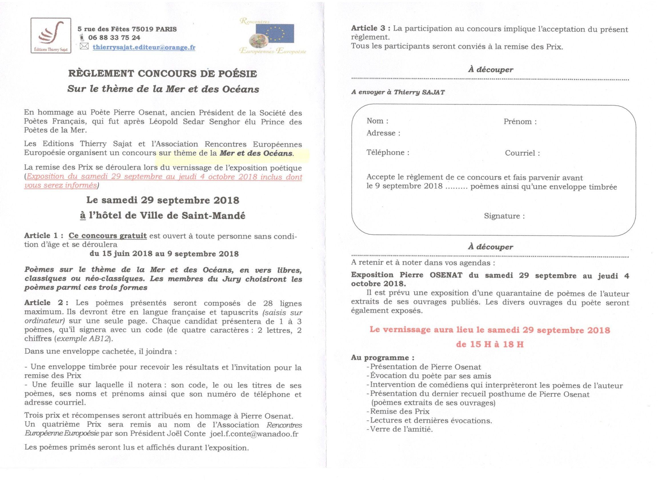 Concours De Poésie Sur Le Thème De La Mer Et De Locéan